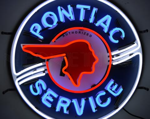 Neonetics Standard Size Neon Signs, Pontiac Service Neon Sign with Backing