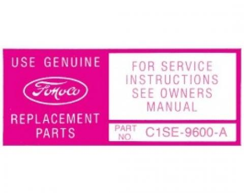 Ford Thunderbird Air Cleaner Decal, Service Instructions, 1961