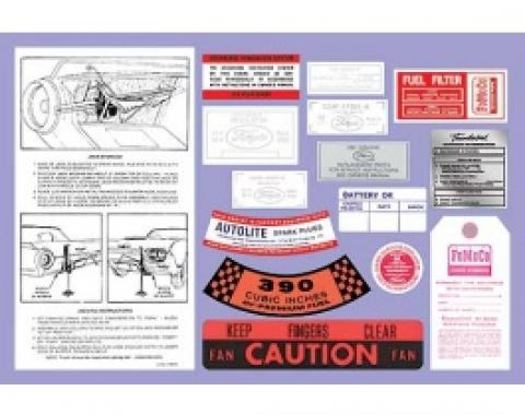 Ford Thunderbird Decal Kit, 15 Pieces, 1962