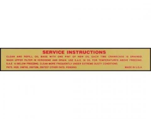 Ford Thunderbird Air Cleaner Decal, Service Instructions, 1956-57