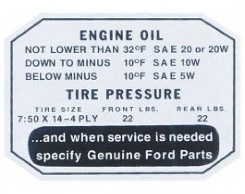 Ford Thunderbird Glove Box Decal, Engine Oil / Tire Pressure, 1957
