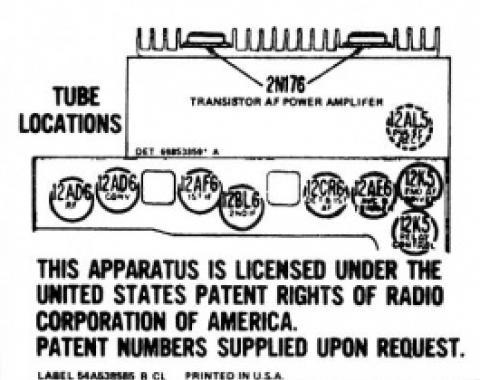 Ford Thunderbird Radio Schematic Decal, 1957