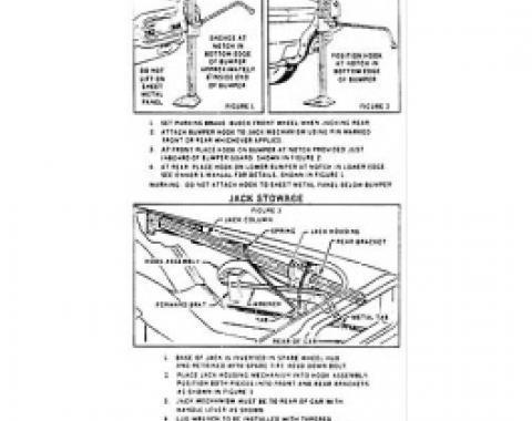 Ford Thunderbird Jack Instruction Decal, 1965