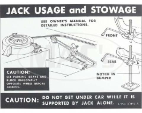 Jack Instructions Decal, 1969 Thunderbird