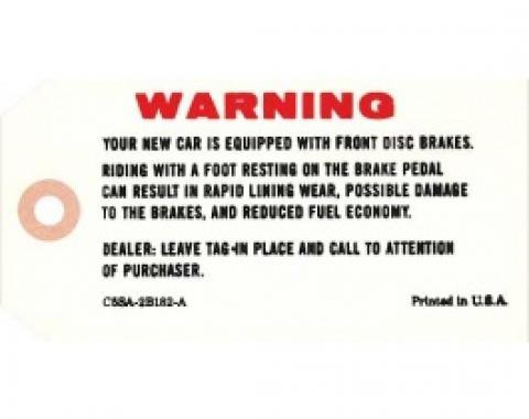 Ford Thunderbird Tag, Disc Brake Master Cylinder Warning, 1965