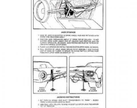 Ford Thunderbird Trunk Decal, Jack Instructions, Except Sports Roadster, 1962