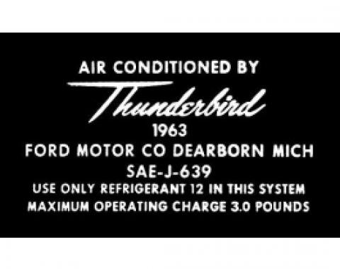 Ford Thunderbird Air Conditioning Aluminum Tag Decal, 1963