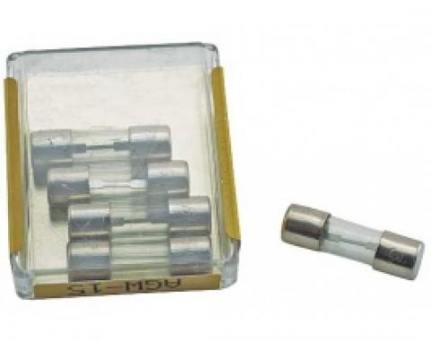 Glass Tube Fuses, AGW-15, Set Of 5, 1964