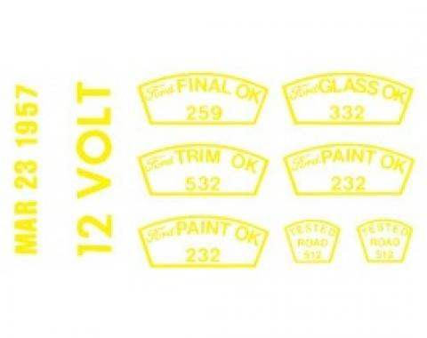 Ford Thunderbird Paint OK Decal Set, 12 Volt, 1957