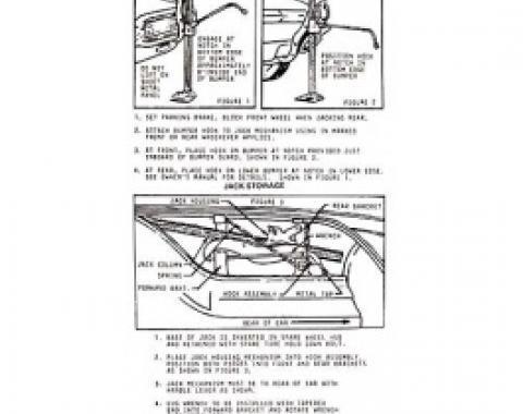 Ford Thunderbird Jack Instruction Decal, 1964