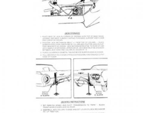 Ford Thunderbird Jack Instruction Decal, Thunderbird Sports Roadster, 1962-63