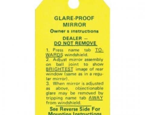 Ford Thunderbird Glare-Proof Mirror Instruction Decal, 1955-56