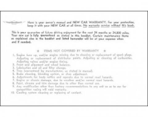 Ford Thunderbird Owner's Manual Envelope, 1961-62