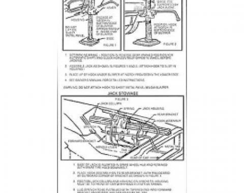 Ford Thunderbird Jack Instruction Decal, 1966