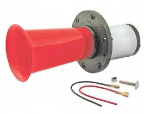 Ah-ooh-gaa Horn, 12 Volt, Chrome Motor Cover, Red Projector