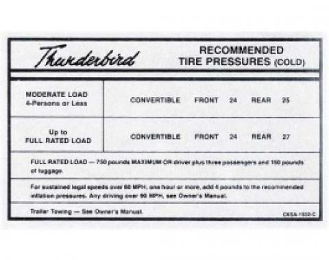Ford Thunderbird Glove Box Decal, Tire Pressure, Convertible, 1966