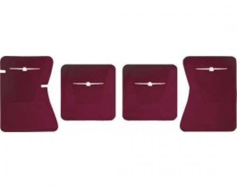 Ford Thunderbird Rubber Floor Mats, 4 Piece Set, Front & Rear, With White T-Bird, 1964-66
