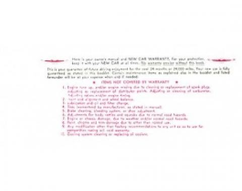 Ford Thunderbird Owner's Manual Envelope, 1959-60
