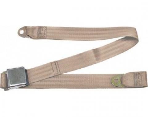 "Seatbelt Solutions 1949-1979 Ford | Mercury, Lap Belt, 60"" with Chrome Lift Latch 1800603009 | Desert Tan"