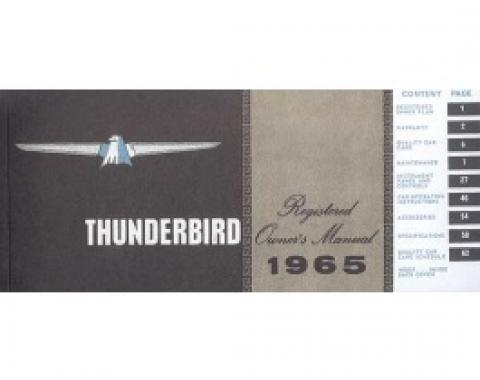 Thunderbird Owner's Manual, 68 Pages, Over 70 Illustrations, Includes Ford Registered Owner Plan, 1965
