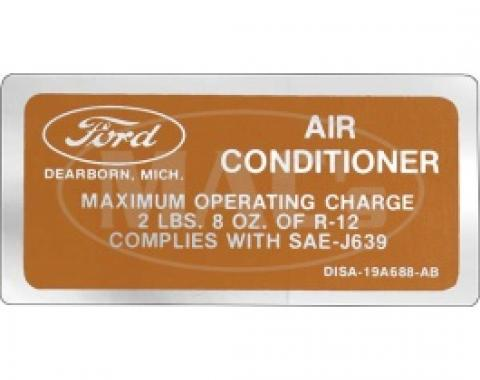 Air Conditioning Charge Decal, 1973 Thunderbird