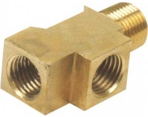 Ford Thunderbird Brake Line Connector, Brass, Threads Into The Master Cylinder, 1965-66