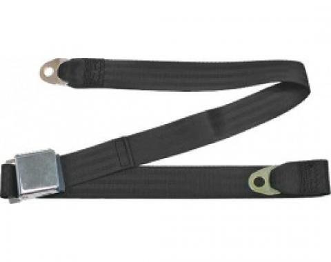 "Seatbelt Solutions Ford/Mercury, Rear Universal Lap Belt, 60"" with Chrome Lift Latch 1800601000 | Black"