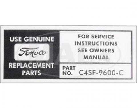 Air Cleaner Service Instruction, 1964 Thunderbird