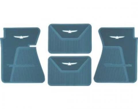 Ford Thunderbird Rubber Floor Mats, 4 Piece Set, Front & Rear, With White T-Bird, 1961-63