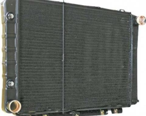 Ford Thunderbird Radiator, 17 High Core, Requires 90 Degree Tube & Flare Fitting for Trans Cooler Lines, Late 1964-66