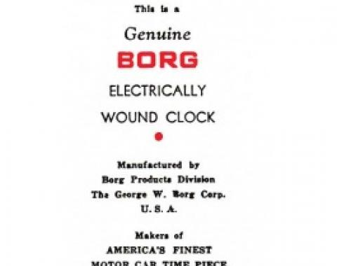 Ford Thunderbird Electric Clock Instruction Booklet, 1955-56