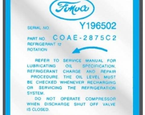 Ford Thunderbird Air Conditioning Decal, Air Conditioning Compressor, 1960-61