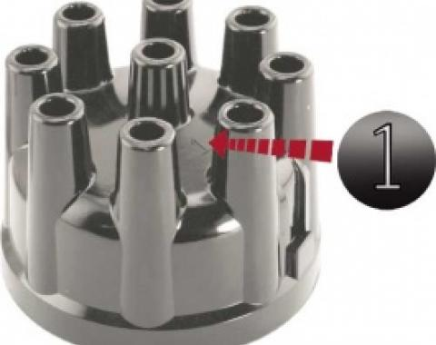 Ford Thunderbird Distributor Cap, Reproduction, Black, Brass Contacts, For All Engines, 1958-66
