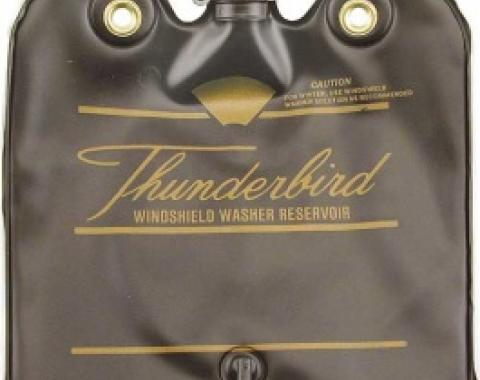 Ford Thunderbird Windshield Washer Bag, Black With Gold Letters, With Hinged Cap, 1966