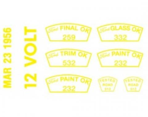 Ford Thunderbird Paint OK Decal Set -12 Volt, 3-23-56