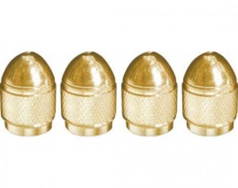 Valve Stem Caps, Aluminum, Bullet Shaped, Knurled Center, Gold, Set Of 4