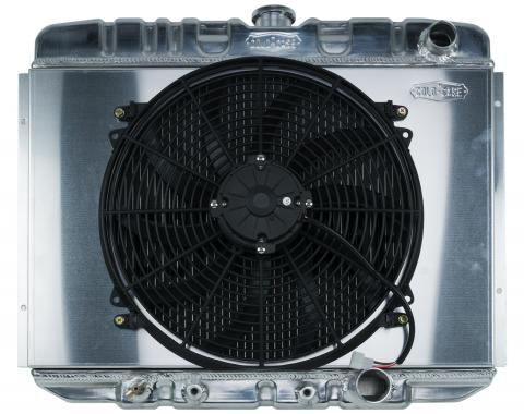 Cold Case Radiators 67-70 Mustang SB 24 Inch Aluminum Performance Radiator And 16 Inch Fan Kit AT FOM587AK