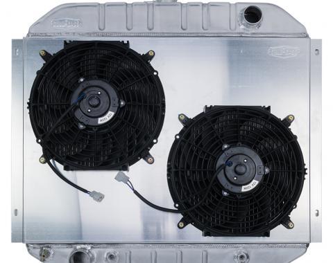 Cold Case Radiators 66-79 Ford Truck Bronco Aluminum Radiator And 12 Inch Fan Kit Dual FOT575AK