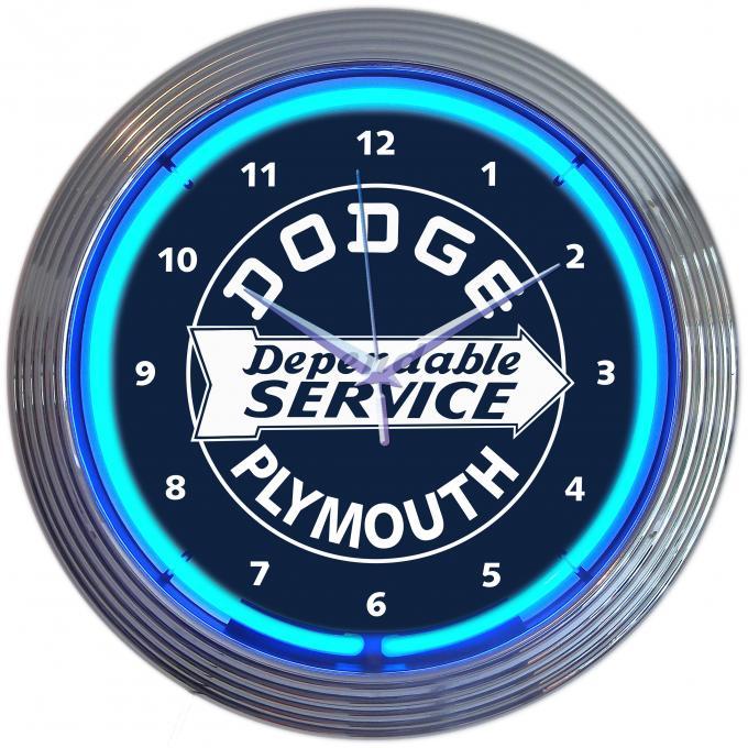Neonetics Neon Clocks, Dodge Dependable Service Neon Clock