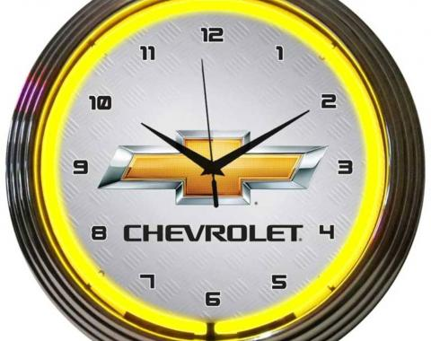 Neonetics Neon Clocks, Gm Chevrolet Yellow Neon Clock