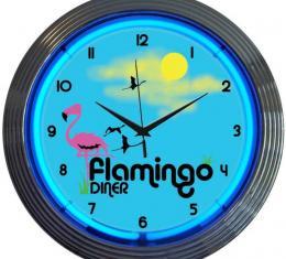 Neonetics Neon Clocks, Flamingo Diner Neon Clock