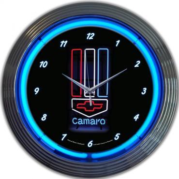 Neonetics Neon Clocks, Gm Camaro Red, White & Blue Neon Clock