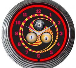 Neonetics Neon Clocks, Billiards 1, 8, 9 Neon Clock