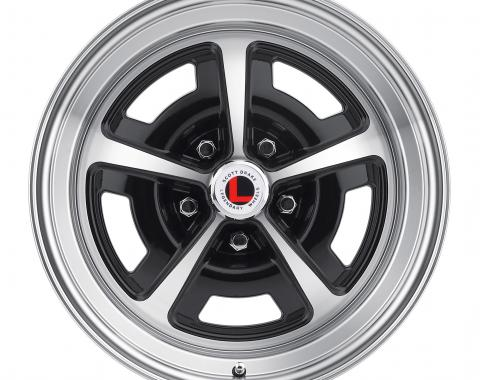 Legendary Wheels 1964-1973 Ford Mustang 17x7 Magnum 500 Alloy Wheel, 5 on 4.5 BP, 4.25 BS, Gloss Black/ Machined LW50-70754A