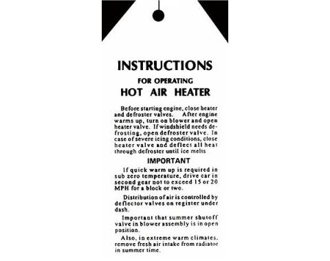 Hot Water Heater Instruction Card - Ford