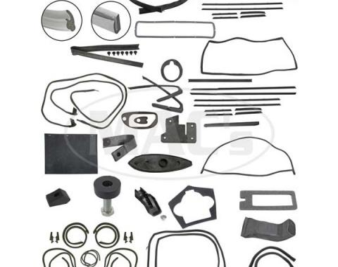 Thunderbird Complete Weather-Strip Kit, Hardtop, Short Cowl Drain Hoses, Balck Trunk Rear Edge Seal, Late 1964