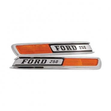 Ford Pickup Truck Hood Side Nameplates - FORD 250 - With Reflector