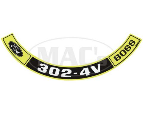 Ford Mustang Air Cleaner Decal - Boss 302-4V