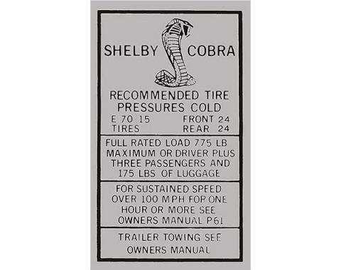 Ford Mustang Decal - Glove Box Tire Pressure - Shelby - Regular Wheels