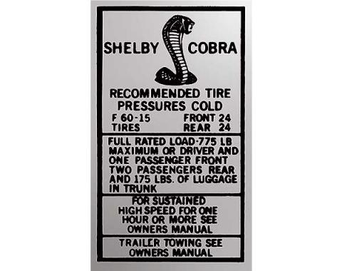 Ford Mustang Decal - Glove Box Tire Pressure - Shelby